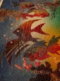 Unidentified Sea Creatures: art quilt by Margie Quilts. Detail images at… Ocean Quilt, Fish Quilt, Patch Aplique, Animal Quilts, Textile Fiber Art, Landscape Quilts, Textiles, Thread Painting, Quilted Wall Hangings