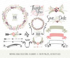 Collection de clipart faire-part de mariage: à la main tiré de couronnes, fleurs, éléments décoratifs, bannières / vecteur, PNG, JPG / lauriers / CP0031
