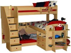 The Utica Triple Bed has it all! This triple bunk bed side has one twin bed snuggled close to the floor, another half way up, and a five-step. Bunk Bed Steps, Loft Bunk Beds, Bunk Beds With Stairs, Kids Bunk Beds, Bed Stairs, Triple Bunk Beds Plans, Bunk Bed Plans, Double Bunk, Triple Bed