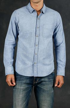 Camisa Masculina Manga Larga Color Azul Con Broches Y Bolsillo. Compra en la tienda On Line tennis.com.co - tennis