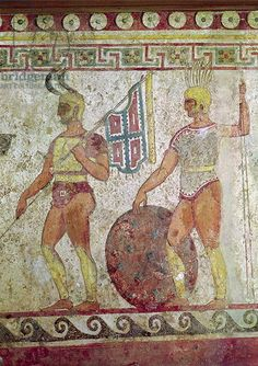 Samnite warriors on a Tomb fresco from Paestum, Italy. I've been to Paestum and temples there are Greek but in excellent condition.