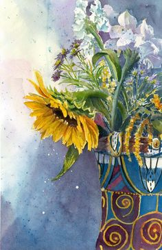 "SR - award winning by Carole DiTerlizzi - ""Sunflower"" watercolor"
