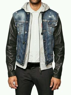 DSQUARED DENIM, LEATHER  FLEECE SPORT JACKET ( HELLS ANGELS)