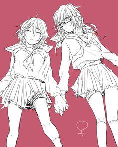 Fem!Misaki and fem!Saruhiko // K Project