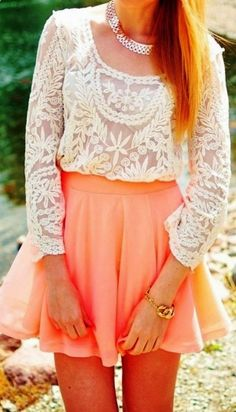 Peach skater skirt outfit and lace combination. Would prefer it with a maroon velvet skater skirt