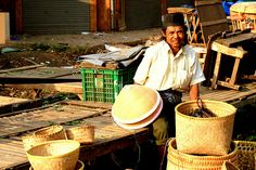 Indonesian Traditional Market: Rattan Products Seller.Location: Andir Traditional Market, Bandung, Indonesia