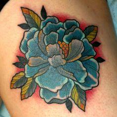 Old school blue peony flower tattoo Peony Flower Tattoos, Tulip Tattoo, Flower Tattoo Drawings, Orchid Tattoo, Flower Tattoo Foot, Flower Tattoo Shoulder, Peonies Tattoo, Flower Tattoo Designs, Evermore Tattoo