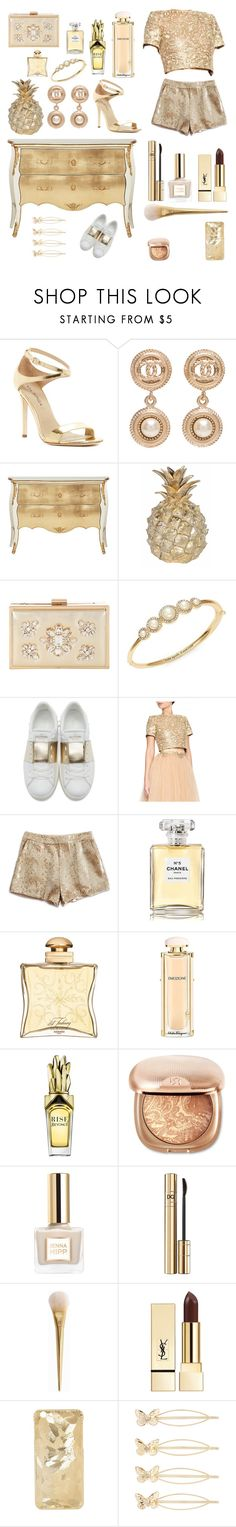 """""""glam in gold"""" by moonlightbubble on Polyvore featuring Via Spiga, Chanel, Bradburn Gallery, Jane Norman, Kate Spade, Valentino, Lucky Brand, Hermès, Salvatore Ferragamo and Yves Saint Laurent"""