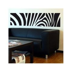 "Style and Apply Zebra Print Wall Decal Size: 23"" H x 99"" W, Color: White"