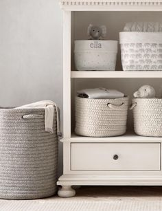This is a lovely and gentle look for storage on our book shelves. RH Baby & Child Source Books
