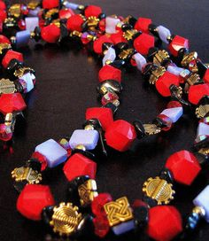 Red and lavendar oriental necklace by lindinidesigns on Etsy