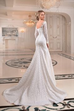 "Gorgeous Embroidered Lace Sweetheart Trumpet Wedding Dress / Bridal Gown with Off Shoulder Illusion, Long Sleeves, a Corset and a Train. Collection ""Primavera"" by Tatiana Kaplun Wedding Dress Sleeves, Elegant Wedding Dress, Bridal Wedding Dresses, Dream Wedding Dresses, Wedding Suits, Lace Trumpet Wedding Dress, Wedding Robe, Alternative Wedding Dresses, Lace Weddings"