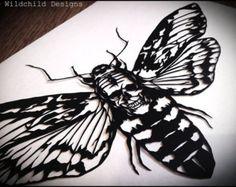 Original Paper Cut - Death's Head Moth Hawkmoth Skull Omen Acherontia Supernatural Gothic Tattoo Paper Cut Papercut Cutting Hand Cut