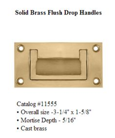 Merit Hardware Solid Brass Drop Handles #11555 | Made in Warrington, PA - www.meritmetal.com