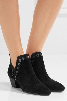 Sam Edelman - Rubin Embellished Suede Ankle Boots - Black - US