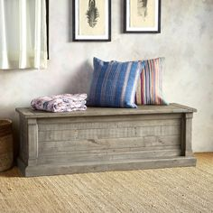 """KEENE BLANKET CHEST--This exquisitely made, tongue-and-groove blanket chest is fashioned with solid, recycled and reclaimed wood. The subtle gray finish suits any décor from rustic to contemporary. Expect the unique and lovely characteristics and personality of reclaimed wood. Hinged top. Imported. Exclusive. 55""""W x 18""""D x 18-1/2""""H."""