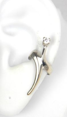 Sterling Silver Modern Style Ear Cuff with Cubic Zirconia Left Pierceless:Amazon:Jewelry