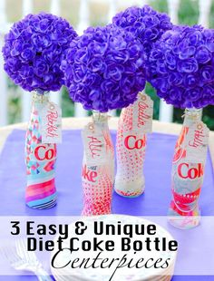 Have you seen the NEW #UniquelyMine Diet Coke Bottles? I've made 3 amazing spring centerpieces using the empty bottles. Come see them all!  AD