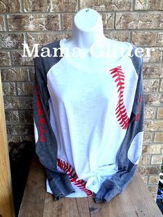 Baseball Laces T-Shirt, baseball mom shirt, Long Sleeve preppy Tee- Number and name on back
