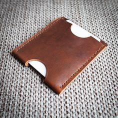 Minimalist Two Pocket Leather Wallet. by slimowl on Etsy