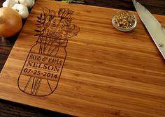 Personalized Wedding Gift, Custom Cutting Board, Anniversary Gift, Mason Jar With Flowers Design, Housewarming Gift, Bridal Shower Gift