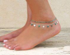 Silver Layered Anklet Set, Set Of 2 Anklets, Turquoise Anklet, Silver Anklet, Silver Coin Anklet, 2 Separated Anklets, Boho Anklet