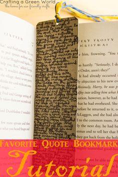 Favorite Quote Bookmark Tutorial