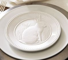 embossed bunny plate... I want to live in a place where Beauty this Extraordinary is Ordinary