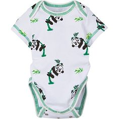 Miraclewear Size Panda Bodysuit In Green/white - The Panda Bodysuit from MiracleWear grows up with your little one, as it adjusts as your child gets bigger. The comfortable cotton outfit features short sleeves and a cute panda print. Carters Baby Girl, Baby Girl Newborn, Baby Girls, Panda Outfit, Elephant Baby Boy, Baby Aspen, Panda Gifts, Cute Panda, Panda Panda