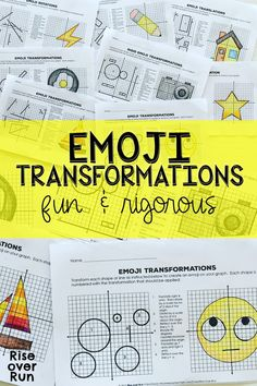 Transformations Practice with Emojis! 8 activities to help students translate, rotate, reflect, and dilate lines and shapes on coordinate grid. Fun and rigorous resource for grade math or high school geometry students. Teaching Geometry, Geometry Activities, Teaching Math, Math Activities, Math Teacher, Transformations Math, Geometric Transformations, Math 8, Fun Math