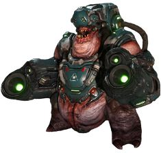 The Cyber-Mancubus is a variation of the normal Mancubus that possesses more armor and a. Doom 3, Doom Game, Cyberpunk, Doom Demons, Doom 2016, Game Character Design, Geek Art, Monster, Video Games