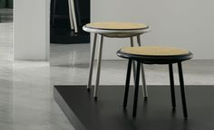 The silhouette of Thonet's furniture is unmistakeable. These side tables are formed from a frame of bent metal tubing and an intricate wood and wickerwork surface that has previously been confined to seating, thus throwing a figurative curveball to any guest looking for a place to rest their nibbles. #wallpaperhandmade