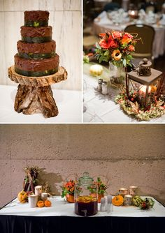 "wanted a fall wedding with a rustic theme, I called my vision ""Rustic Elegance"", and we had just that. I have to admit I was that person that had a ""Someday"" file on my computer and a folder in my junk drawer stuffed full of various pics of ideas that I liked. I had come across such ideas while helping all my close friends plan their weddings over the past 10 years. I am very thankful I ha"
