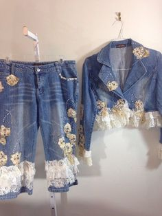 Black Cat Boho Denim Cropped Jeans and Jacket 9/10 Lace Bead Embellished  #Blue2 #CapriCroppedFlare