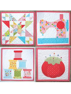 Sew Happy Minis Quilt Pattern More. These would be cute for the sewing room!Free Mini Charm Pack Quilt Patterns Modern Mini Quilt Patterns Starlite Snowman Mini Quilt Pattern Mini Charm Pack Quilt Ideas - co-nnect.Use applique quilt patterns to creat Sewing Machine Quilt Block, Machine Quilting Patterns, Quilting Projects, Quilting Designs, Sewing Projects, Quilting Room, Sewing Tips, Sewing Tutorials, Small Quilt Projects