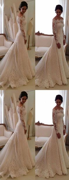 Elegant Bateau Long Sleeves wedding dresses, fashion bodycon Sheath Lace bride Dress Sweep Train