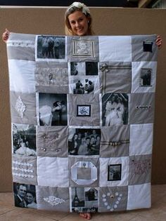 a Photo Memory Quilt DIY Photo Quilt. A great memory quilt for college student. A great memory quilt for college student. Diy Photo, Photo Craft, Photo Ideas, Foto Quilts, Foto Memory, Cadre Photo Original, 50 Wedding Anniversary Gifts, Anniversary Surprise, Golden Anniversary