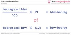 Formule: 21% btw berekenen over een bedrag dat exclusief btw is.