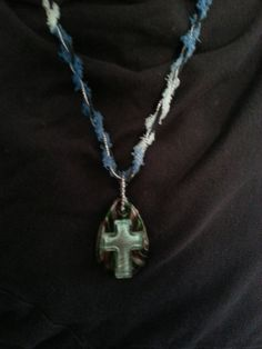 Bohemian Blue Glass Cross Necklace by SilverPennyArtisans on Etsy, $40.00