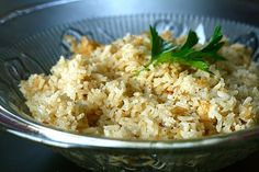 Garlic Rice Pilaf from Annie's Eats -   Very easy recipe. I substituted a quarter of a cup of the rice with orzo, adding it in after the first 25 minutes with the chicken broth.
