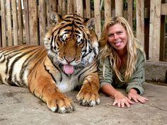 tiger Ronny and Yveta Irsova founder & owner of the Tiger oasis near Senec, Slovakia for saving the Siberian tiger :)