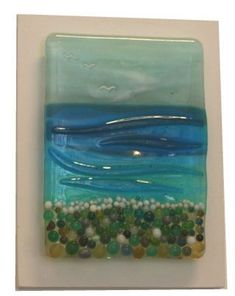 Pebble Beach - Fused Glass Panel on Board by Nicky Exell (80) from BlueIndigoGallery