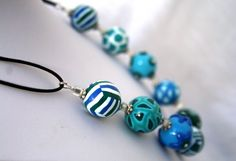 Collier Perles Rondes Boules bleu vert €42.00