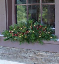 Lighted Holiday Window Swag with Timer | Plow & Hearth