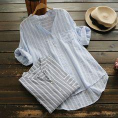 Half Sleeve Shirts, Loose Shirts, Linen Shirts, Casual Shirt Look, Casual Shirts, How To Fold Sleeves, Half Sleeves, Blouse En Lin, Blouse Neck