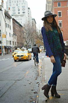 NY, streetstyle, borsalino , capa , cuadros ,new york city , blogger