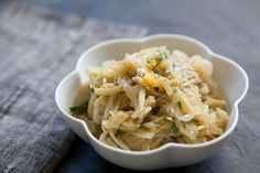 Sliced onions and fennel, slowly cooked until lightly browned, tossed with Parmesan, lemon, and parsley.
