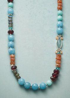 Blue raku beaded necklace lapis blue necklace denim blue necklace