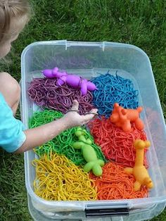 Super-duper list of messy outdoor sensory fun: rainbow spaghetti, shaving foam painting, rain boot painting, black worms and bugs, rainbow rice, jello, etc.