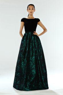 Theia Long Cap Sleeve Ball Gown 882384